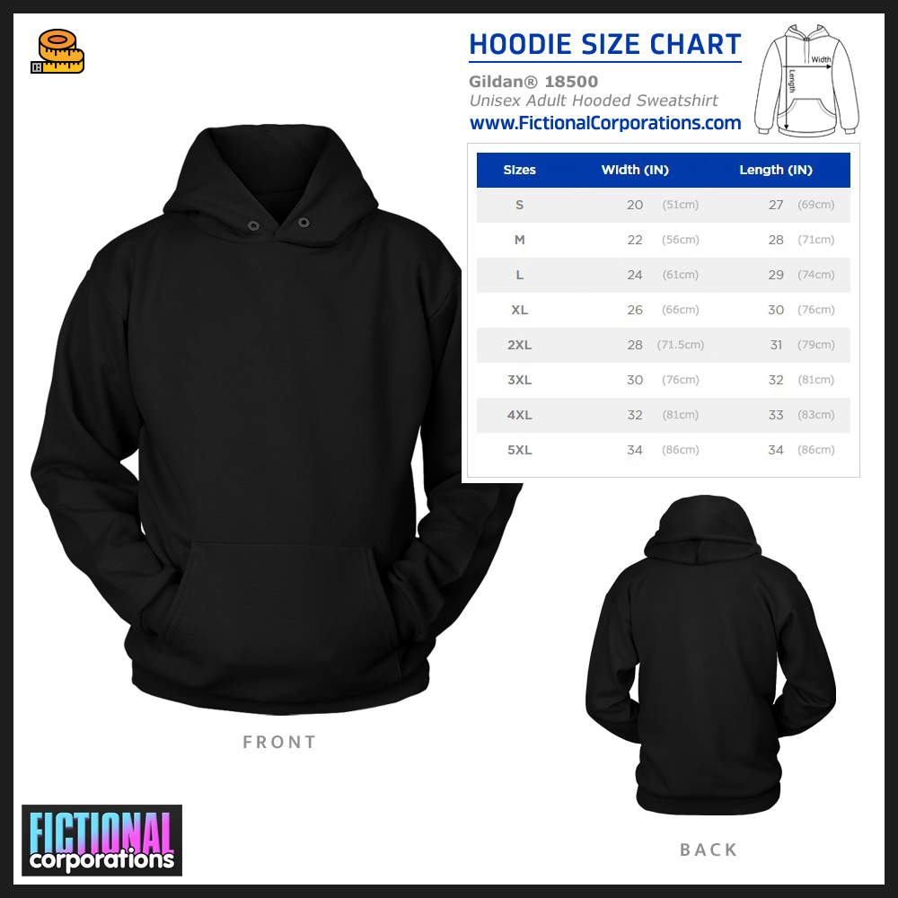 Hoodie Size Chart - FictionalCorporations.com