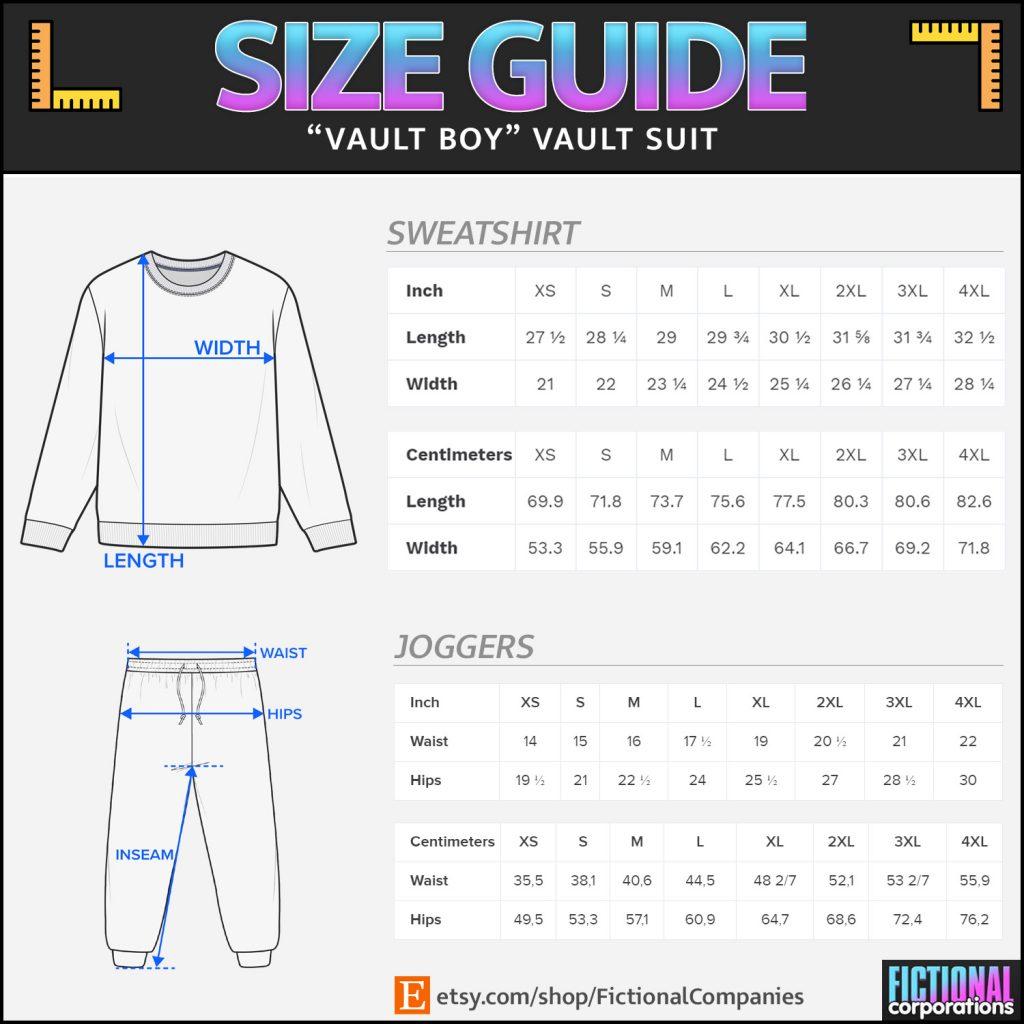 Size Chart - Fallout Vault Suit
