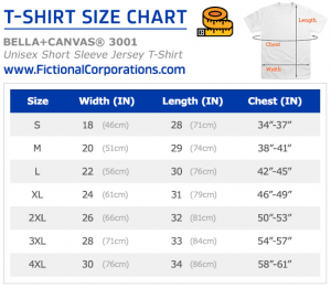 FictionalCorporations.com T-Shirt Size Chart