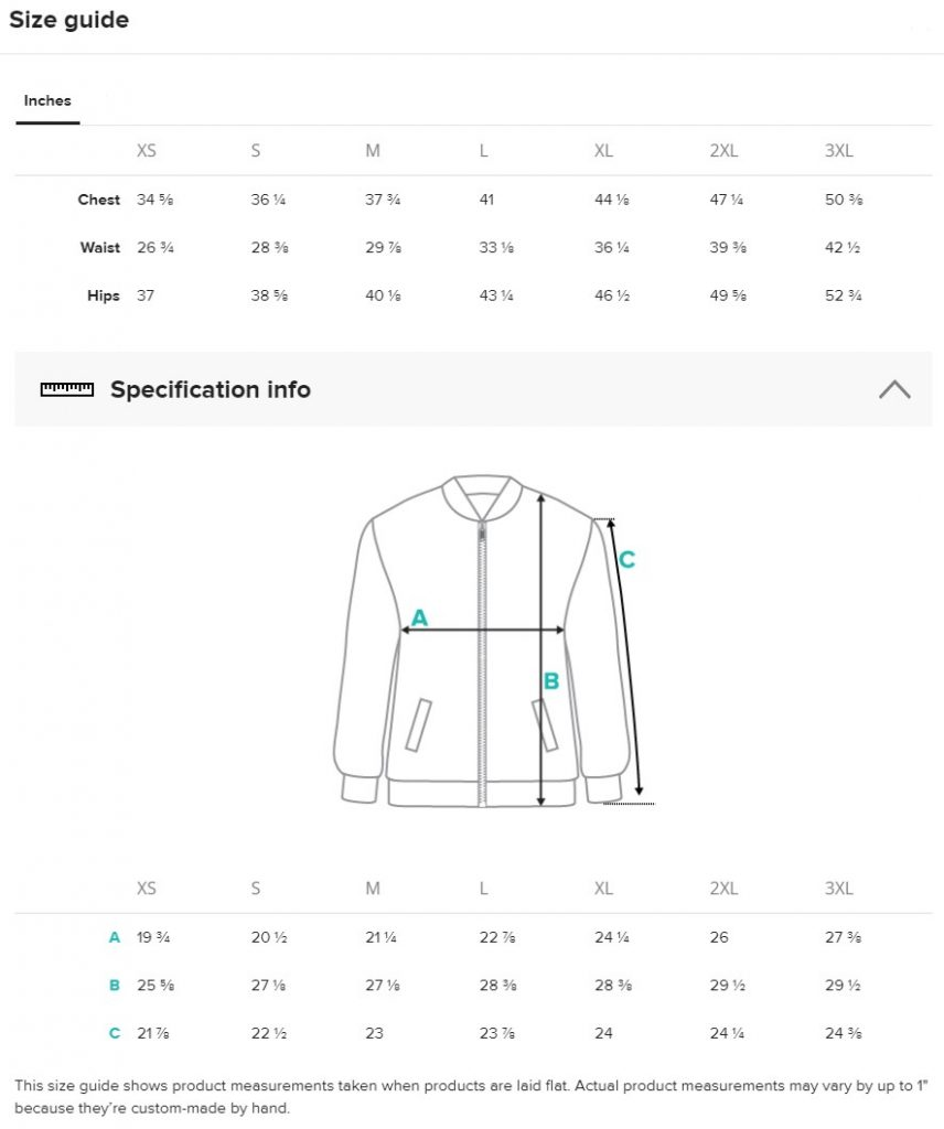 Bomber Jacket Size Guide | FictionalCorporations.com
