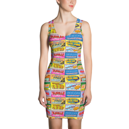 Idiocracy Brands Logos All-Over Fitted Dress