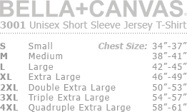 Size Chart: Bella+Canvas 3001 Unisex Tee