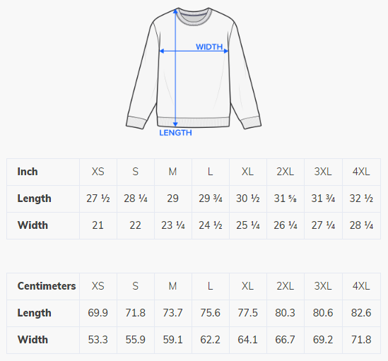 Size chart for FictionalCorporations.com sweatshirts